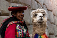 Woman with an alpaca
